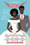 Wedding invitation.Cute cartoon mulatto bride Stock Image