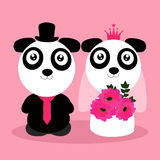 Wedding invitation with cute pandas. Illustration of a Bride and Groom with cute bears Stock Photos