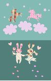 Wedding invitation with cute rabbits and unicorns in the clouds. Royalty Free Stock Photos