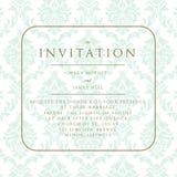 Wedding invitation on damask background Stock Photos