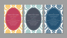 Wedding invitation on damask background Royalty Free Stock Image