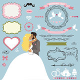 Wedding invitation decor elements set with Kissing couple Royalty Free Stock Photos