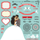 Wedding invitation decor set with Kissing  couple Royalty Free Stock Photos