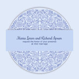 Wedding invitation decorated with round ornament Stock Photos