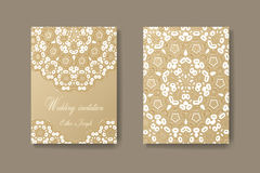 Wedding invitation decorated with white lace, vector background Royalty Free Stock Image