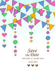 Wedding invitation with decoration of hanging garlands. Royalty Free Stock Photos