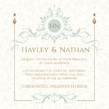 Wedding invitation. Decorative floral frame and monogram. Stock Photography