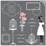 Wedding invitation design elements collection Royalty Free Stock Images