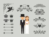 Wedding invitation design elements. Ornate elements for wedding decoration. Vector illustration Royalty Free Stock Image