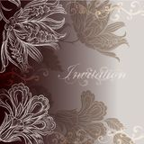 Wedding invitation design with floral swirls royalty free illustration