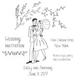 Wedding invitation design, handdrawn style - with bride and groo Royalty Free Stock Image