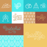 Wedding invitation design set. Vector set of linear icons, seamless patterns, hand-lettering and illustration for wedding invitations in trendy linear style vector illustration