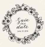 Wedding invitation design template with Save the date text and frame of vintage botanical flowers. Royalty Free Stock Images