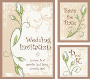 Wedding Invitation Designs Set with Rose Buds. Vector set of wedding invitation designs with rose buds Royalty Free Stock Photos