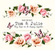 Wedding invitation desing with coloful flowers Royalty Free Stock Images