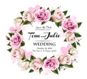 Wedding invitation desing with coloful roses and hearts Stock Images