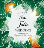Wedding invitation desing with exotic leaves Stock Photos