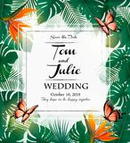 Wedding invitation desing with exotic leaves and coloful flowers Stock Photo