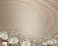 Wedding invitation diamonds on satin stock photos