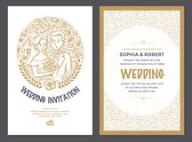 Wedding Invitation Doodle Card royalty free illustration