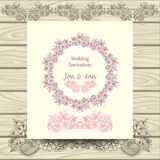 Wedding invitation with doodle floral elements Stock Images
