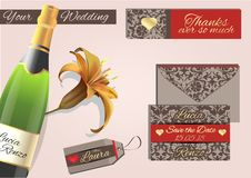 Wedding invitation, in dove gray and red colors with golden eyes. With placeholders and thanksgiving Royalty Free Stock Images