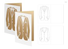 Wedding invitation with dress. Die cut Fathers day cards 6,5``Hx4,5`W. Cutout cards with silhouettes of elegant Masculine suits. Laser cut templates are suitable Royalty Free Stock Photo