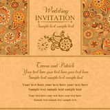 Wedding invitation in east turkish style, orange Stock Photos