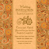 Wedding invitation in east turkish style, orange Royalty Free Stock Images