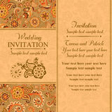 Wedding invitation in east turkish style, orange Royalty Free Stock Photos
