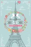 Wedding invitation.Eiffel tower,flower wreath Royalty Free Stock Image