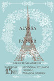 Wedding invitation.Eiffel tower,Snowflakes wreath Stock Photo