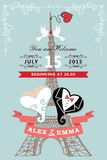 Wedding invitation.Eiffel tower,stylized heart Stock Image
