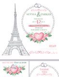 Wedding invitation.Eiffel tower,Watercolor rose Royalty Free Stock Photography