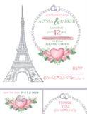 Wedding invitation.Eiffel tower,Watercolor rose royalty free illustration