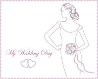 Wedding invitation with elegant bride. Vector illustration Royalty Free Stock Photo