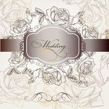 Wedding invitation in elegant style with roses Royalty Free Stock Photos