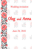Wedding invitation with embroidered flowers. Black and red embroidery Stock Photo