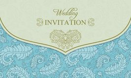Wedding invitation envelope, blue and beige Royalty Free Stock Images
