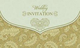 Wedding invitation envelope, gold and beige Royalty Free Stock Photo
