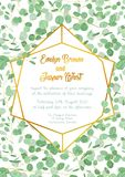 Wedding invitation with evergreen eucalyptus green leaves and br. Anches with gold design frame isolated on white background. Vertical Royalty Free Stock Photo