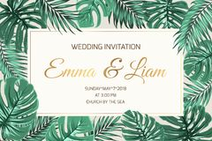 Wedding invitation exotic green leaves golden text Royalty Free Stock Image