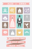 Wedding invitation with Flat icons.Sweet colors Stock Photos