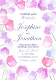 Wedding invitation with floral background. Hand drawn flowers  Stock Images