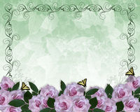 Wedding Invitation Floral border Lavender Roses Royalty Free Stock Photos