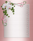 Wedding invitation floral border Orchids  Royalty Free Stock Images