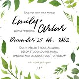 Wedding Invitation, floral invite card Design with carious leave. S beauty greenery, eucalyptus forest bunch decorative frame, wreath botany print. Vector Stock Image