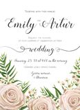 Wedding Invitation, floral invite card Design with creamy white. Garden rose flowers, wax flower, green tropic palm tree leaves greenery border, frame. Vector Stock Photo