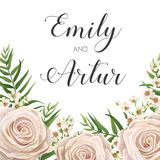 Wedding Invitation, floral invite card Design with creamy white. Garden rose flowers, wax flower, green tropical forest palm tree leaves greenery border, frame Stock Photos