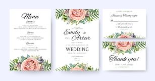 Wedding Invitation, floral invite card Design: garden lavender p. Ink peach Rose Succulent wax green palm fern leaves elegant greenery, berry forest bouquet Royalty Free Stock Photo